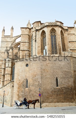 Cathedral of Palma de Majorca gothic monument Balearic islands Spain - stock photo