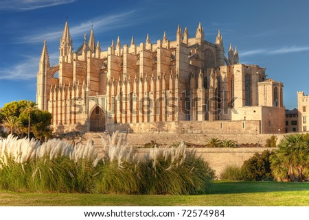 Cathedral of Palma de Majorca in soft late evening sun