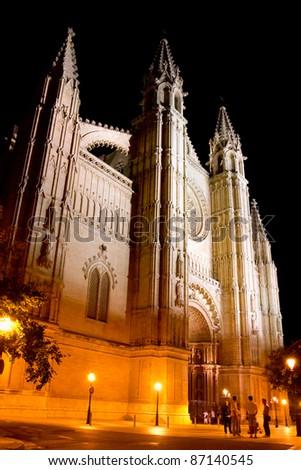 Cathedral of Palma de Mallorca La Seu night view perspective Majorca Balearic - stock photo