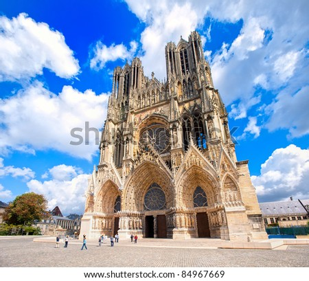 Cathedral of Reims, France - stock photo