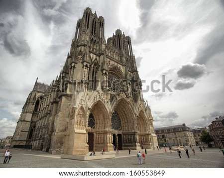 Cathedral of Reims in France - stock photo