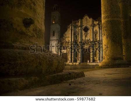 Cathedral of Saint Christopher in La Havana. Cuba - stock photo
