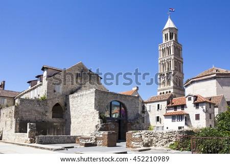 Cathedral of Saint Domnius and Diocletian Palace in Split, Dalmatia, Croatia - stock photo