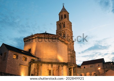 Cathedral of Saint Domnius in historic Split, Croatia - stock photo