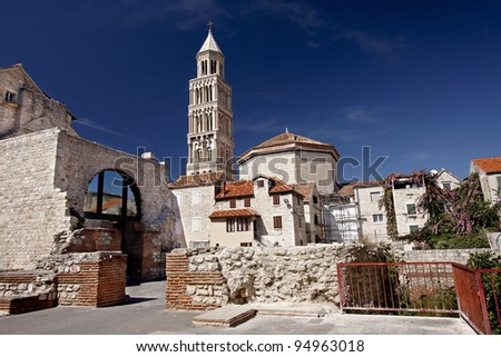 Cathedral of Saint Domnius (Saint Duje Cathedral) and the Dioclesian's Palace in the historical center - UNESCO World Heritage site, Split, Croatia - stock photo