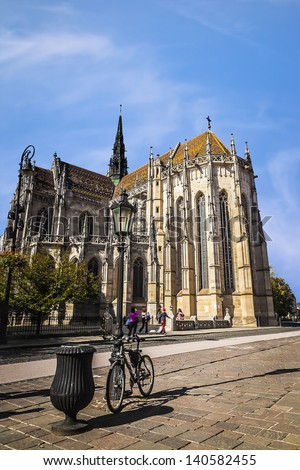 Cathedral of Saint Elizabeth and the main square in Kosice, Slovakia. European Capital of Culture - stock photo