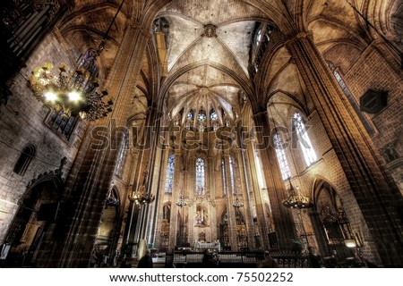 Cathedral of Saint Eulalia in Barcelona, Spain - stock photo