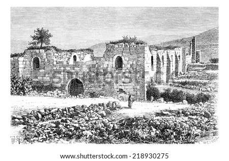 Cathedral of Saint John the Baptist in Samaria, Israel, vintage engraved illustration. Le Tour du Monde, Travel Journal, 1881