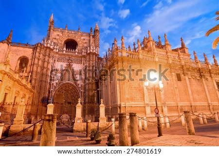 Cathedral of Saint Mary (Catedral de Santa Maria de la Sede) in Seville, Spain - stock photo