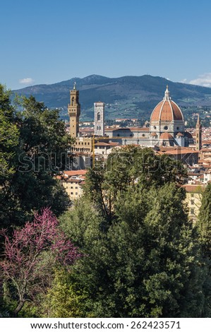 Cathedral of Saint Mary of the Flower (Cattedrale di Santa Maria del Fiore) in Florence, Tuscany, Italy. - stock photo