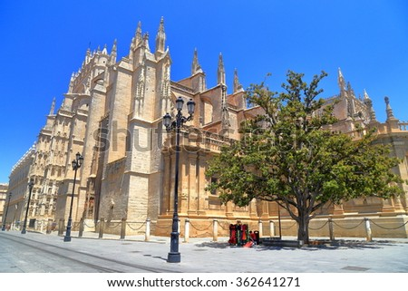 Cathedral of Saint Mary of the See (Seville Cathedral) in Seville, Andalusia, Spain - stock photo