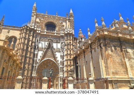 Cathedral of Saint Mary of the See (Seville Cathedral) in sunny day, Seville, Andalusia, Spain