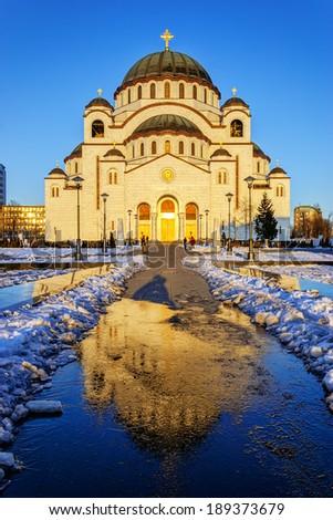 Cathedral of Saint Sava at sunset, Belgrade, Serbia - stock photo