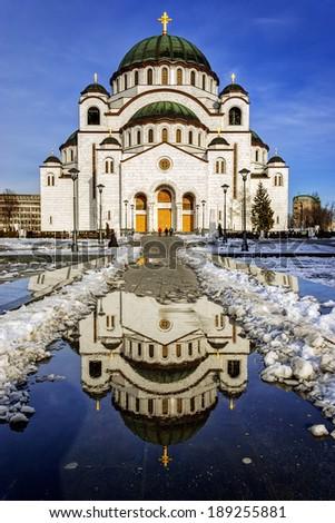 Cathedral of Saint Sava, Belgrade, Serbia - stock photo