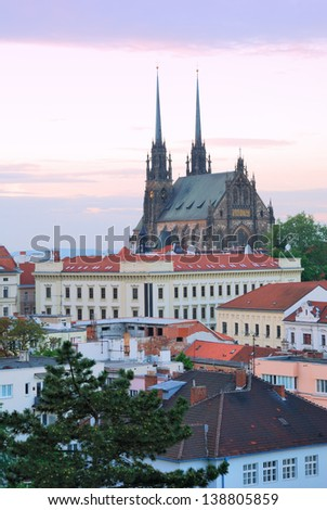 Cathedral of Saints Peter and Paul in Brno in the Czech Republic - stock photo