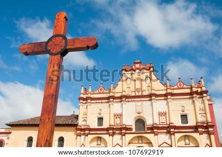 Cathedral of San Cristobal de las Casas, Chiapas (Mexico) - stock photo
