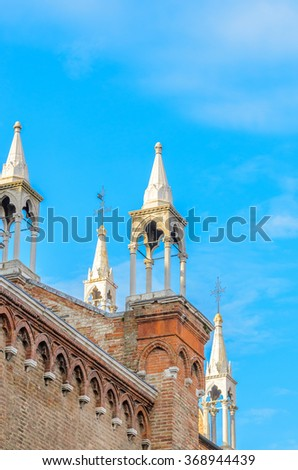 Cathedral of San Marco, Venice, Italy. Roof architecture details - stock photo