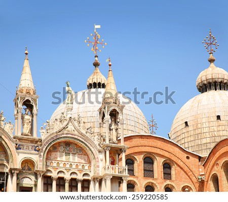 Cathedral of San Marco, Venice, Italy. Rooftop detail  - stock photo