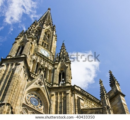 Cathedral of San Sebastian with blue sky and clouds - stock photo