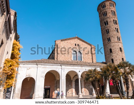 Cathedral of Sant'Apollinare Nuovo in Ravenna, Italy. - stock photo