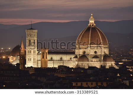 Cathedral of Santa Maria del Fiore at dusk, Florence, Italy, Europe - stock photo