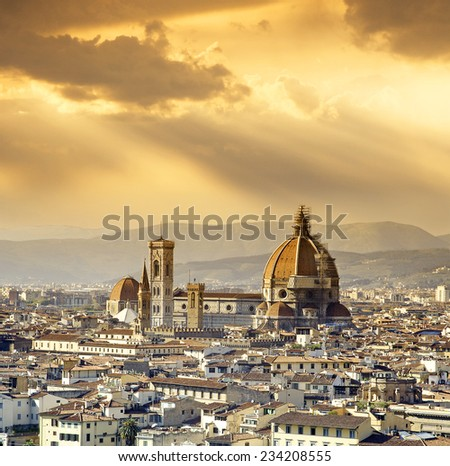 Cathedral of Santa Maria del Fiore (Duomo) at dusk, Florence, Tuscany, Italy, UNESCO World Heritage Site - stock photo