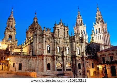 Cathedral of Santiago de Compostela. Galicia, Spain - stock photo