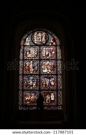 Cathedral of Senlis (Oise, Picardy, France), stained-glass window