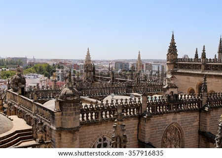 Cathedral of Seville -- Cathedral of Saint Mary of the See, Andalusia, Spain -- is the third largest church in the world and at it time of completion in the 1500 it was the world  largest - stock photo