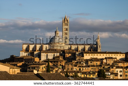 Cathedral of Siena, Italy at sunset - stock photo