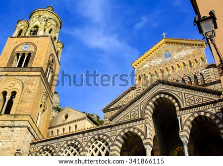 Cathedral of St. Andrew against blue sky, Unesco world heritage, at Piazza del Duomo in Amalfi, Italy.  - stock photo