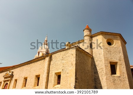 Cathedral of St. Catherine of Alexandria in Cartagena de Indias. Colombia - stock photo