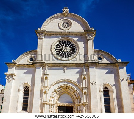 Cathedral of St James in Sibenik facade view, UNESCO world heritage site in Croatia - stock photo