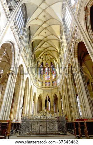 Cathedral of st. Vitus, Vaclav and Voiteha. (St. Vitus )Indoor  panorama. Prague,Czech  Republic. - stock photo