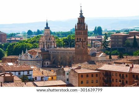 Cathedral of Tarazona in sunny day. Zaragoza,  Aragon - stock photo