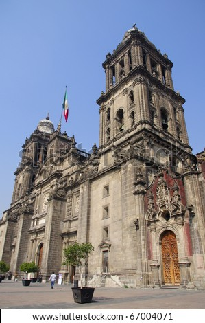 Cathedral of the Assumption of Mary of Mexico City beneath blue sky - stock photo