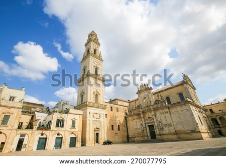 Cathedral of the Assumption of the Virgin Mary in Lecce, a historic city in Apulia, Southern Italy - stock photo