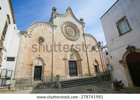 Cathedral of the medieval town Ostuni in Puglia, South Italy. - stock photo