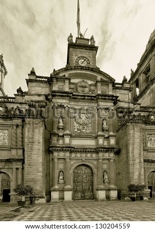 Cathedral on Zocalo in the Mexico City (stylized retro) - stock photo