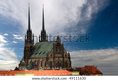 Cathedral Petrov in Brno - stock photo