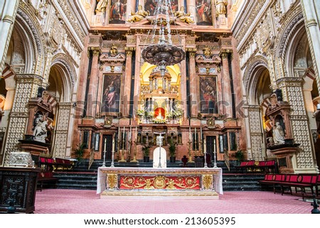 Cathedral placed in the centre of the Mezquita (old mosque) in Cordoba, Spain - stock photo