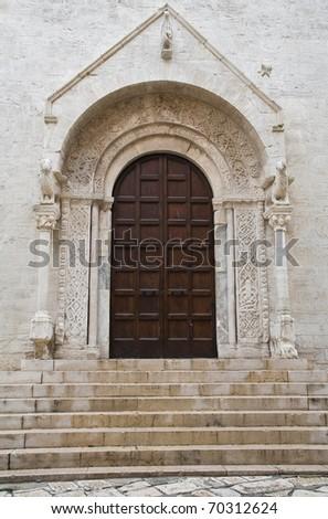 Cathedral portal church. Bisceglie. Apulia. - stock photo