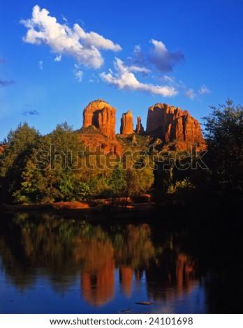 Cathedral Rock and Oak Creek Canyon near Sedona, Arizona. - stock photo