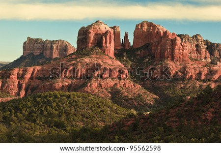 Cathedral Rock in Sedona, Arizona and  Red Rock State Park. - stock photo