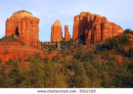 Cathedral Rock lit by the setting sun, Sedona, Arizona