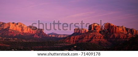 Cathedral Rock panoramic in Sedona, Arizona at sunset - stock photo
