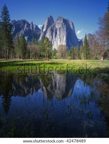 Cathedral Rocks - Yosemite National Park - stock photo
