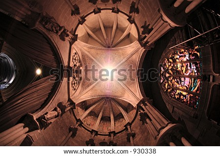 Cathedral's interior in Lausanne, Switzerland - stock photo