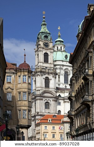 Cathedral Saint Nicholas at Lasser Town in Prague