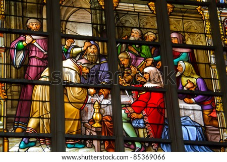 Cathedral Saints-Michel-et-Gudule at Brussels: one of the windows of the legend of the Blessed Sacrament: scene of the desecration of sacramental bread by Jews in 1370